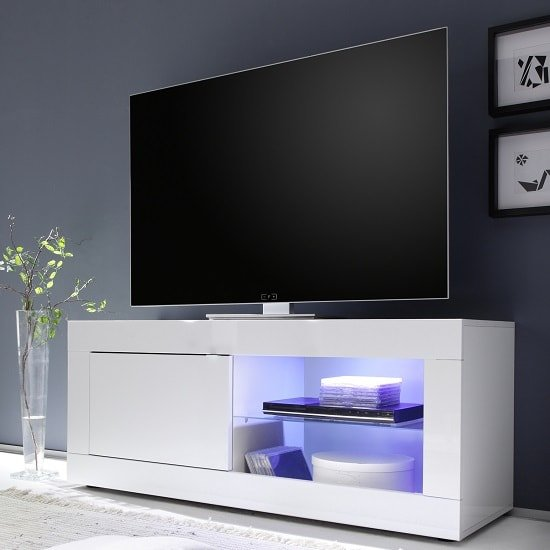 Taylor TV Stand In White High Gloss With 1 Door And LED