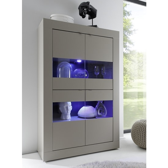 Taylor Display Cabinet In Matt Beige With 4 Doors And LED