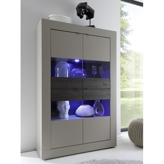 Taylor Display Cabinet Wide In Matt Beige And Wenge With LED