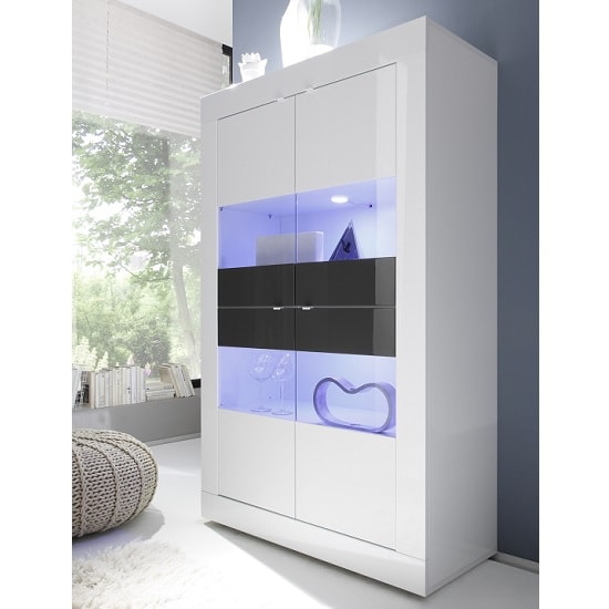 Taylor Display Cabinet Wide In White Anthracite High Gloss LED