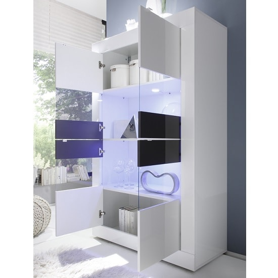 Taylor Display Cabinet Wide In White Anthracite High Gloss LED_2