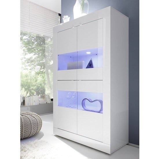 Taylor Display Cabinet In White High Gloss With 4 Doors And LED