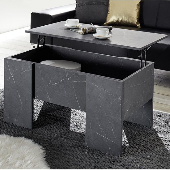 View Taze lift-up storage coffee table in black gloss marble effect