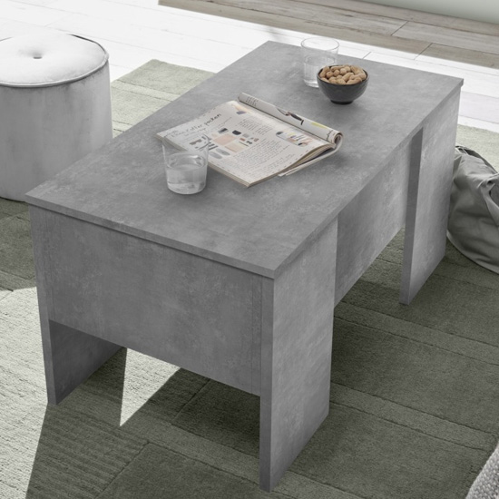 Taze Lift-Up Storage Coffee Table In Cement Effect