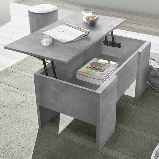 View Taze lift-up storage coffee table in cement effect