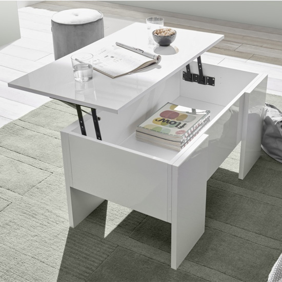Taze Lift-Up Storage Coffee Table In White High Gloss
