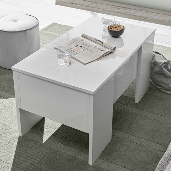 Taze Lift-Up Storage Coffee Table In White High Gloss_2