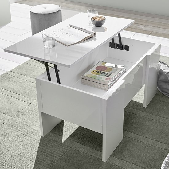 View Taze lift-up storage coffee table in white high gloss