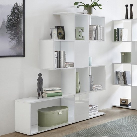 Taze Wooden Shelving Bookcase In White High Gloss