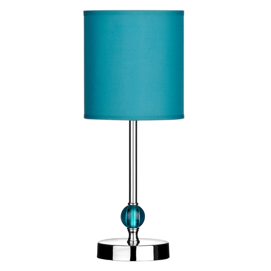 Trikova Teal Fabric Shade Table Lamp With Chrome Base