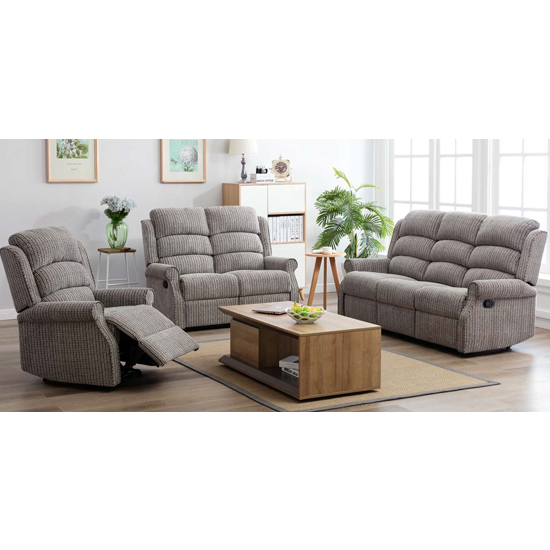 View Tegmine 3 seater sofa and 2 armchairs reclining suite in latte