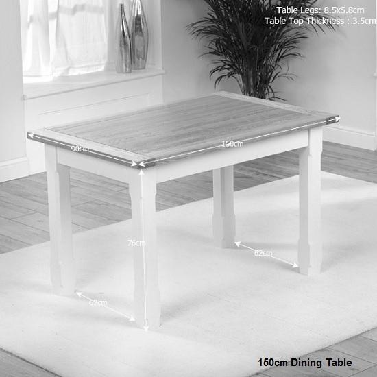 Telford Dining Table Rectangular In Natural Ash And Cream : telfordwoodenrectangulardiningtabledimension2 from www.furnitureinfashion.net size 550 x 550 jpeg 68kB