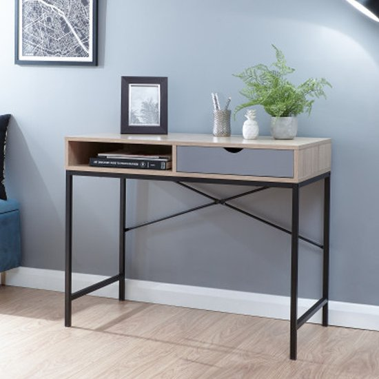 Telfore Wooden Computer Desk In Light Oak And Grey Drawer