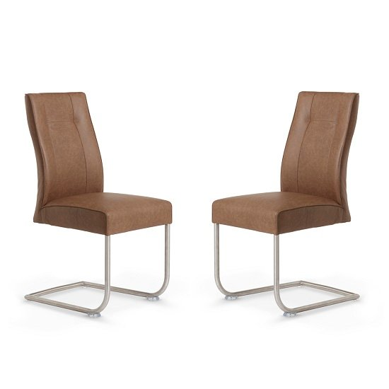 Telsa Dining Chair In Brown Faux Leather In A Pair