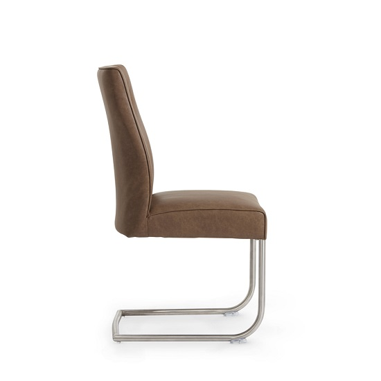 Telsa Dining Chair In Brown Faux Leather In A Pair_3