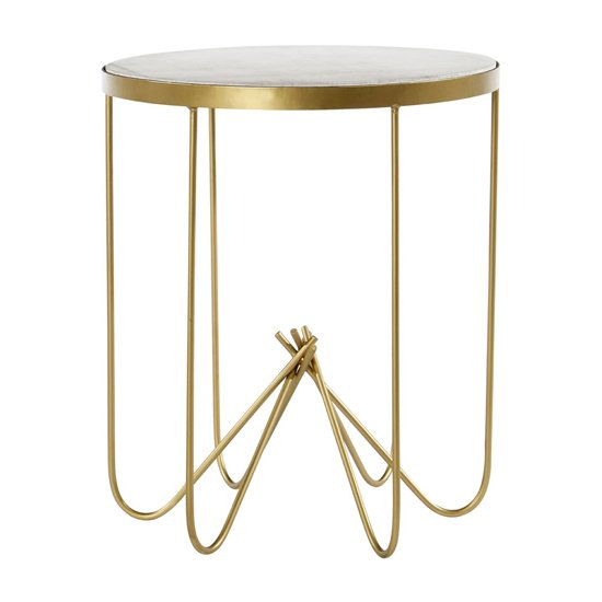 Regulus Round Side Table With White Marble Top