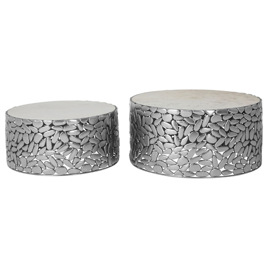 Regulus Set Of 2 Antique Pewter Side Tables In Silver