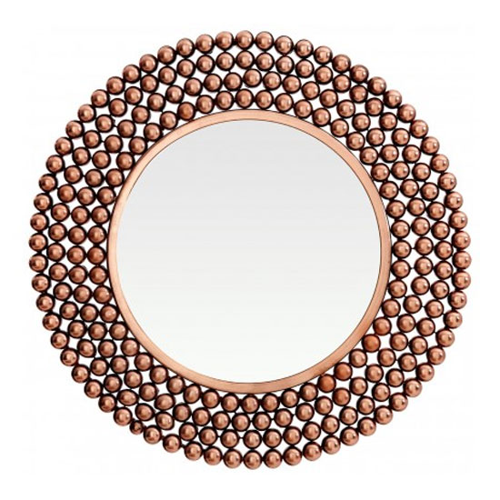Templars Beaded Effect Wall Bedroom Mirror In Copper Frame