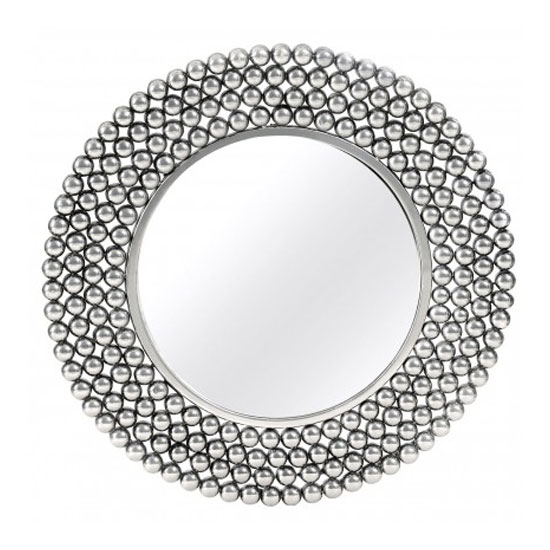 Templars Beaded Effect Wall Bedroom Mirror In Silver Frame Furniture In Fashion