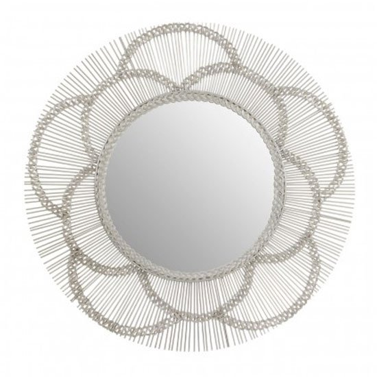 Templars Floral Effect Wall Bedroom Mirror In Silver Frame