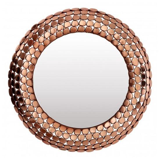 'Templars Pebble Effect Wall Bedroom Mirror In Copper Frame