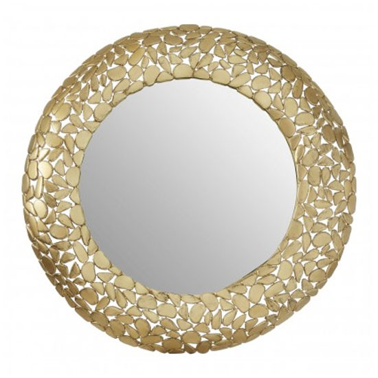 Templars Pebble Effect Wall Bedroom Mirror In Warm Gold Frame