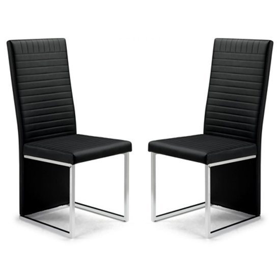 Tempo Black Faux Leather Dining Chairs In Pair