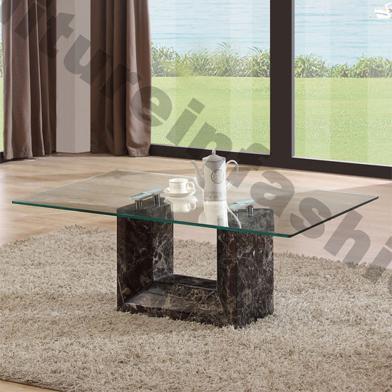 Marble Glass Top Coffee Table: Tempo Glass Top Marble Coffee Table 18869 Furniture IN Fashi