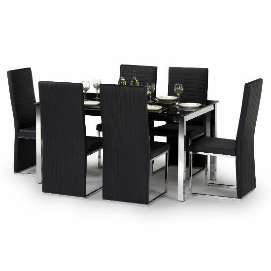 Tempo Glass Dining Table And 6 Tempo Chairs