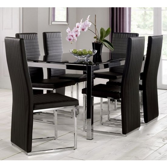 Tempo Glass Dining Set In Black With 6 Chairs