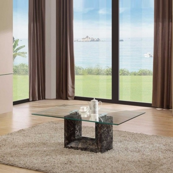 Tempo Glass Top Marble Coffee Table