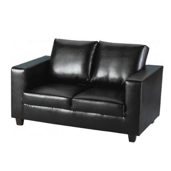 Tremendous Tempo 2 Seater Sofa In A Box Made Of Black Faux Leather Machost Co Dining Chair Design Ideas Machostcouk