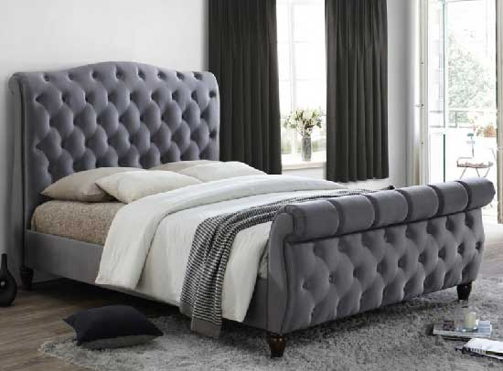 Renata Fabric Bed In Grey With Dark Wooden Feet