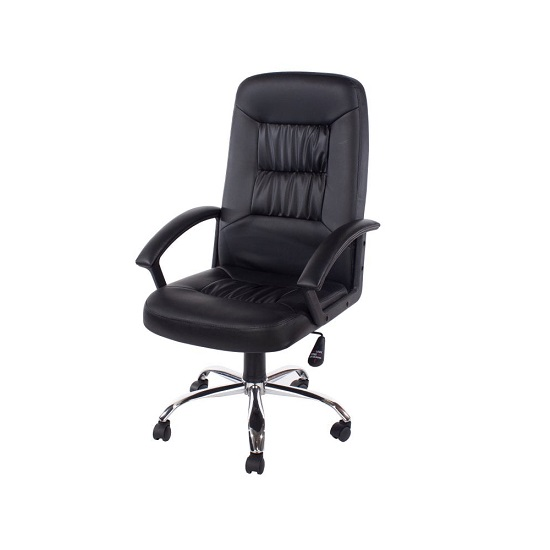 Tengan Faux Leather Office Chair In Black With Chrome Base