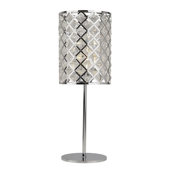 Tennesse 1 Light Table Lamp In Chrome And Crystal Glass