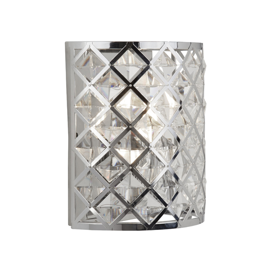 Tennessee 1 Light Wall Light In Chrome With Crystal Glass