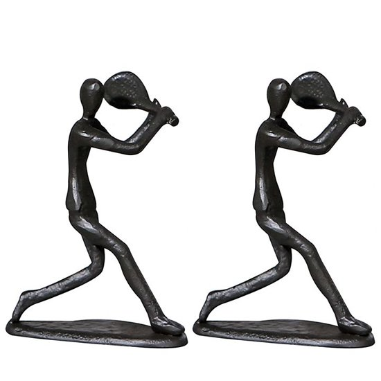 View Tennis player iron set of 2 design sculpture in burnished bronze