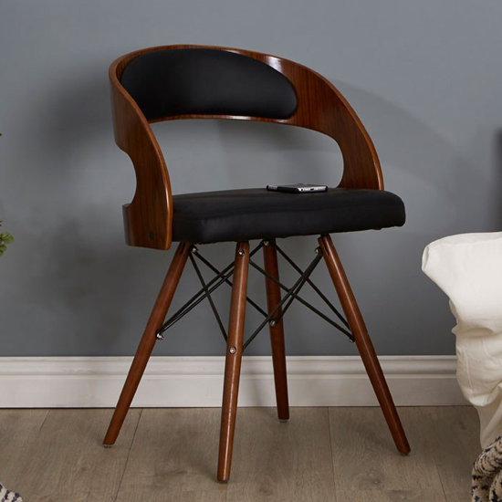 Tenova Black Faux Leather Bedroom Chair With Walnut Wooden Legs_1
