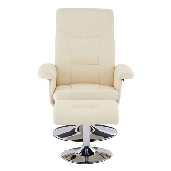 Tenova Faux Leather Recliner Chair And Footstool In White_2