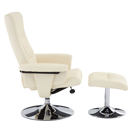 Tenova Faux Leather Recliner Chair And Footstool In White_3