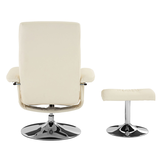 Tenova Faux Leather Recliner Chair And Footstool In White_4