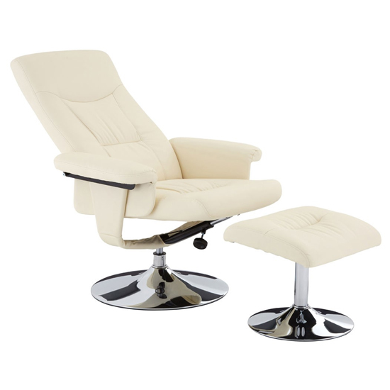 Tenova Faux Leather Recliner Chair And Footstool In White_5