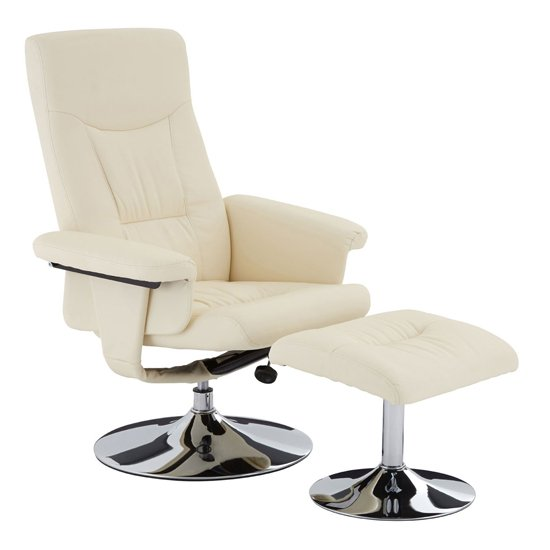 Tenova Faux Leather Recliner Chair And Footstool In White