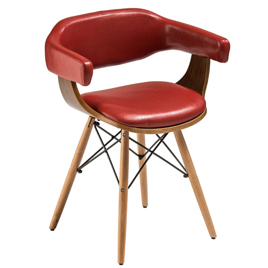 Tenova Red Faux Leather Bedroom Chair With Beech Wooden Legs