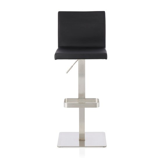 Tenzo Bar Stool In Black Faux Leather And Stainless Steel Base