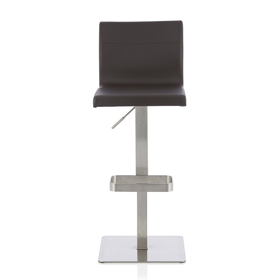 Tenzo Bar Stool In Brown Faux Leather And Stainless Steel Base