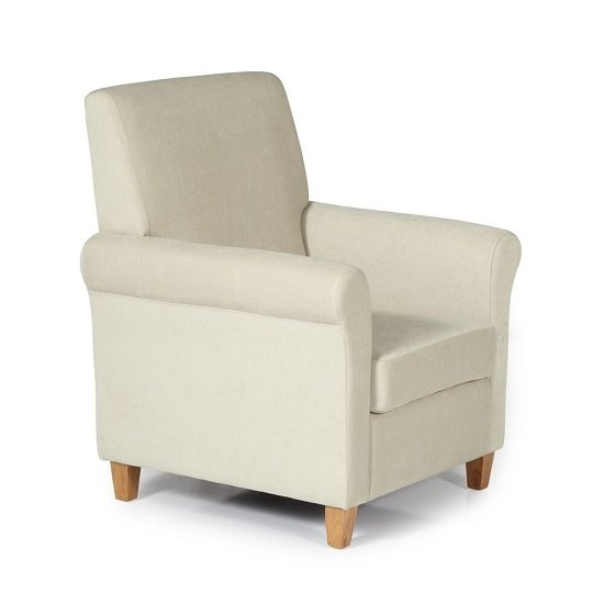 Tephra Fabric Lounge Chair In Cream With Wooden Legs