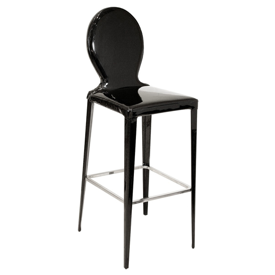 Tequila Black PVC Bar Stool With Metal Foot Rest