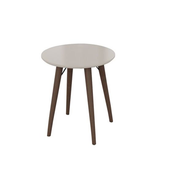 Teramo End Table In Champagne High Gloss And Metal Legs