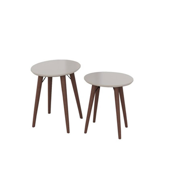 Teramo Nesting Tables In Champagne High Gloss And Metal Legs